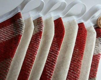 Wool Bunting, Signature Collection, Wall Hanging, Red Bunting
