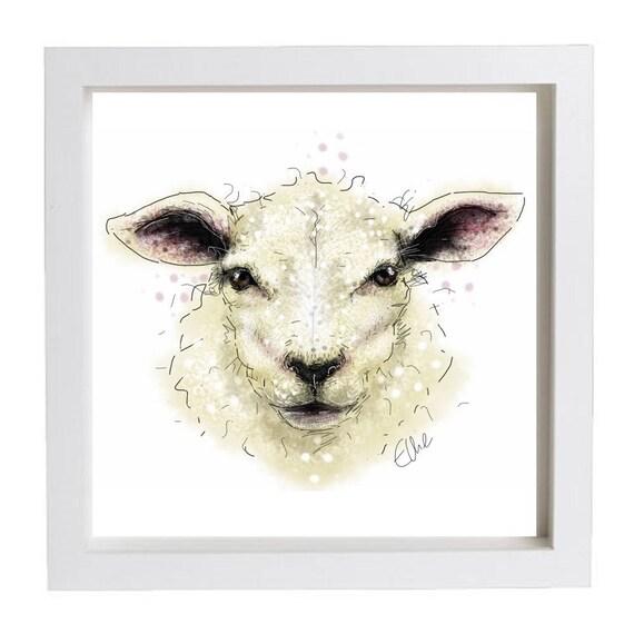 Sheep Wall Art Home Decor ~ Framed sheep print home decor