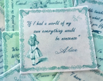 Edible Alice in Wonderland Quotes Soft Pastel Colours 12 Wafer Paper Wedding Cake Decoration Mad Hatters Tea Party Cupcake Cookie Topper RTD