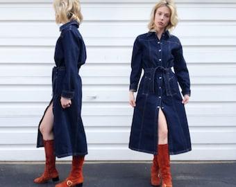 Vintage 90s Angels Dark Denim Long Sleeve Mid Length Snap Button Belted Heavy Blue Jean Grunge Midi Dress S