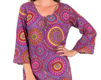 "Kaftan Dress, Beach Cover Up or Tunic in 100% Cotton - ""Purple Circles"""