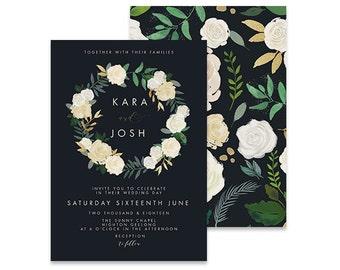 Navy Wedding Invitation | Joli | Printable DIY Invite, Affordable Wedding Invitation | Navy wedding invite with ivory white rose wreath