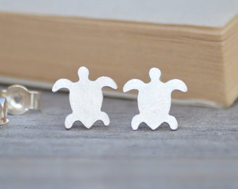 Sea Turtle Earring Studs, Animal Earring Studs In Sterling Silver Handmade In The UK