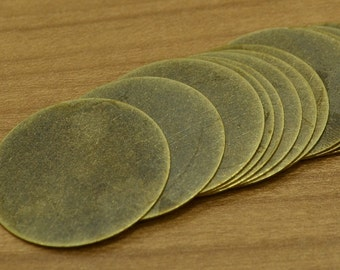 10 Pcs Antique Brass 31 mm Stamping Disc ( No Holes ) Thickness Of 0.45 mm - 25 Gauge