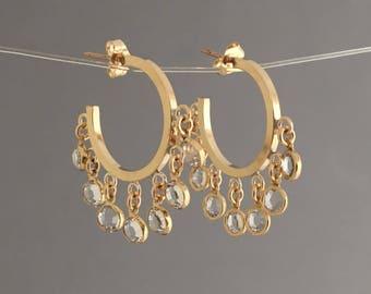 Seven Swarovski Crystal Gold Hoop Earrings