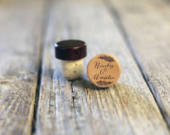 Single Personalized Custom Wine Stopper, Laser Engraved Cork Bottle Topper, Customized Rustic Wedding Favor, Reusable --WS-L-NicolasAmelia