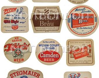 vINTAGE Beer Coasters Digital Collage Sheet  - DIY Printable Cupcake Toppers - INSTANT DOWNLOAD