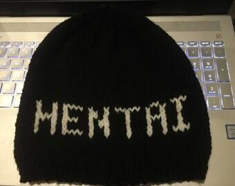 Tricoté bonnet noir et blanc, anime, cosplay, unisexe, acrylique, bonnet anime, convention d'anime de Hentai