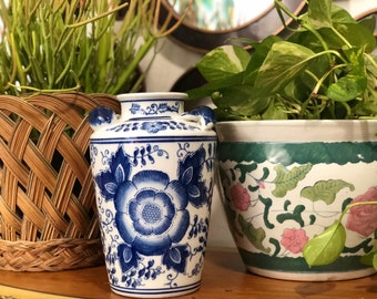 Vintage Blue and White Chinoiserie Vase