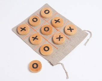 tic tac toe game, table game, wooden game for children, travel game, wooden toy, gift idea for kids, kids christmas gift