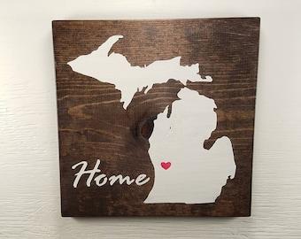 """Pick State, Pick colors, Custom, Wooden State Sign, Michigan, U of M, Michigan State, 11.25""""x11.25"""""""