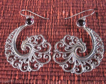 Bali Sterling Silver Earrings / silver 925 garnet / Balinese handmade jewelry / floral design / 2.15 inches long / (#155m)