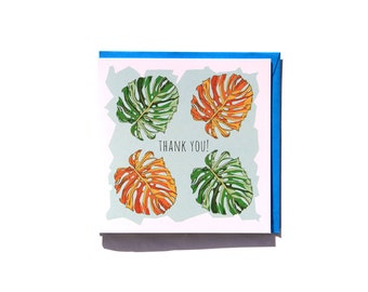 Thank you! - Quirky Monstera Leaf Thank You Card Hand drawn