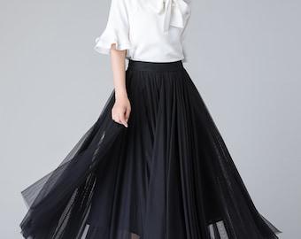 black tulle skirt, tulle skirt, tulle skirt women, long tulle skirt, elastic waist skirt, tulle summer skirt, tulle bridesmaid skirt 1902