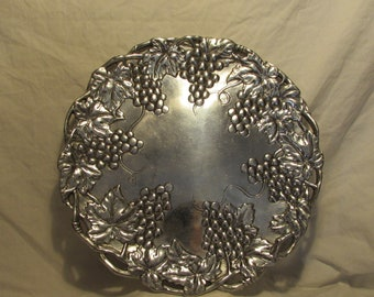 Platter, Cast Aluminum, Arthur Court, Grape Vine Motif, Round, 1995