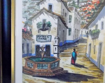 Mexico Heritage Village Water Color - Signed and Framed
