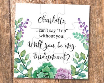 Bridesmaid puzzle proposal will you be my bridesmaid gifts succulents Wedding invitation Bridal shower Gifts for Bridesmaids gift ideas