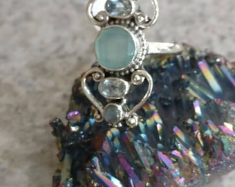 Faceted Aqua Chalcedony, Blue Topaz and Moonstone  Ring, Size  8 1/2