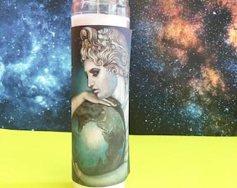 "Gaia ϟ 8"" Altar Candle - Greek Mythology - meditation - Mother Earth - channeling - worship - handmade"