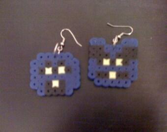 Perler NES Dr Mario Blue Virus Earrings
