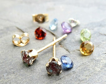 Tiny 14k Gold Birthstone Earrings - Choose Your Stone: Solid 14k Gold 3mm Faceted Gemstone Studs, Sapphire, Ruby, Emerald, Moissanite, &c.