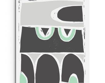 Modern Structured Arches - Shades of Gray and Mint Green - Linocut Block Print - Giclee Digital Print