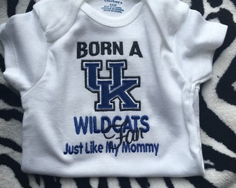 Kentucky baby etsy born a kentucky wildcats fan just like my daddy mommy grandpa you choose great baby shower gift this design is great for boy or girl negle Choice Image