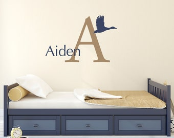 Duck Wall Decal Set - Initial Name Wall Art - Boy Bedroom Decor - Personalized Wall Art - Large
