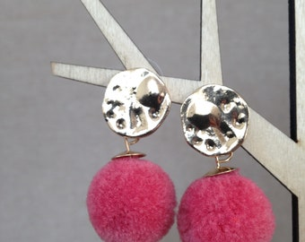 Pink Pom pom dangling earrings / variety of summer colours/ pom pom costume jewellery