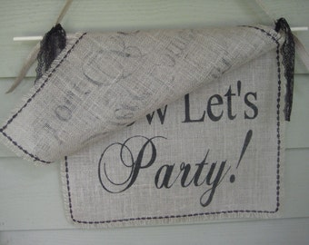Here Comes The Bride Banner, Let's Party Banner, Burlap Banner, Rustic Wedding, Burlap Wedding, 2 layer Banner, Personalized Banner, Custom