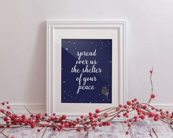 Printable Art - Hashkiveinu Jewish Prayer Blessing - Spread Over Us the Shelter of Your Peace for Kids Children Bedroom