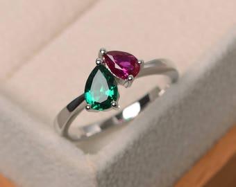 Ruby ring, emerald ring, wedding ring, July birthstone, May birthstone ring, sterling silver, gemstone ring, pear cut gemstone