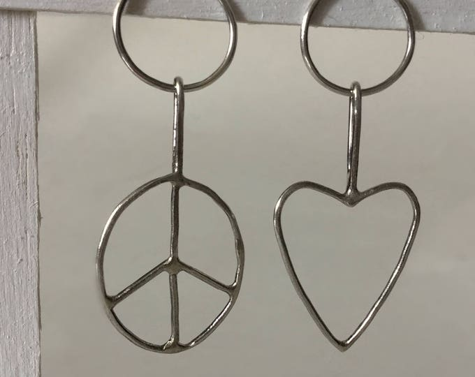 Handcrafted, Mismatched Sterling Silver Love&Peace Earrings