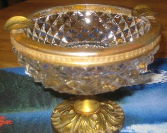 Vintage Brass & Crystal Ashtray
