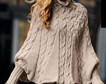 Womens crocheted Cape Poncho with sleeves