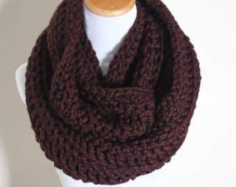 THE ORION - Oversized Infinity Scarf, Chunky, Wool-Blend, Crochet Infinity Scarf / Burgundy, Maroon, Claret, Oxblood