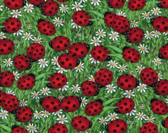 Fat Quarter Ladybird Ladybug Daisy Meadow Sewing Cotton Quilting Fabric