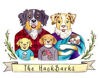 Watercolor Portrait Family Picture Animal Illustration