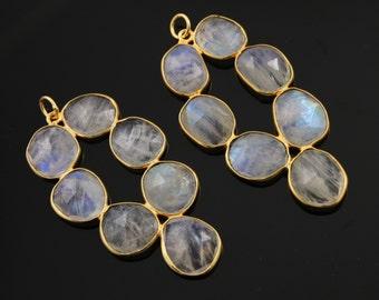 Rainbow Moonstone Bezel Pendant, Gold Vermeil, Size 28x47mm , 1 Piece (MNS/PDT/100)