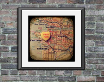 first kiss vancouver custom candy heart map art ttv unframed photo print anniversary engagement wedding gift wall decor