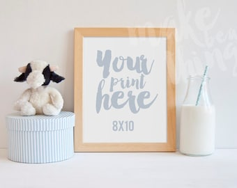 8x10 wooden frame / Nursery styled stock photography / Instant download / vertical frame