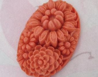 vintage molded glass pressed carved coral orange flower floral cabochon 34x23mm - f4511