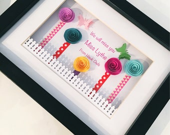 Thank you teacher gift | Teacher box frame | end of term gift | thank you gift | 3D butterfly | 3D effect | personalised gift frame |