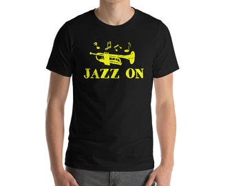 Jazz On T-shirt- Music Shirts-great gifts for guys-cool gifts for men-unique gift ideas-Birthday Gift-Jazz Lover-Bass Guitar Lover-Music Lov