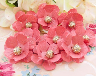 Vintage Layered Petal Pink Metal Flowers with Crystal Rhinestone Ball Centers - 2