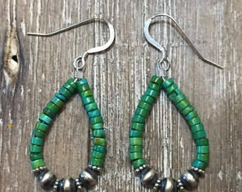 Southwestern Navajo Green Turquoise and Sterling Silver Earrings Western
