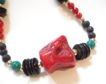 Red Coral and Black Lava Contemporary Necklace Modern Coral Mykonos and Santorini Lava Necklace