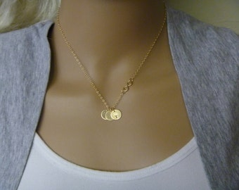 Infinity Necklace with Kids Initial - Mom Necklace with Kids Initials - Family Initial necklace - Gold filled necklace.