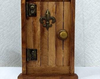 Wood Fairy Door with Fleur di Lis