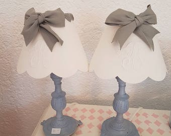 Two small lamps fabric embroidered